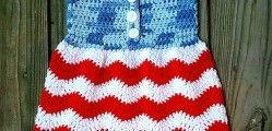 [Free Pattern] Cutest Ever 4 июля вязания крючком платье для детей раннего возраста