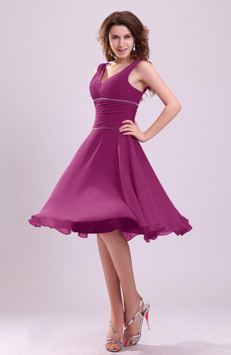 Raspberry V-Neck Dark Bridesmaid Dresses | Dress images