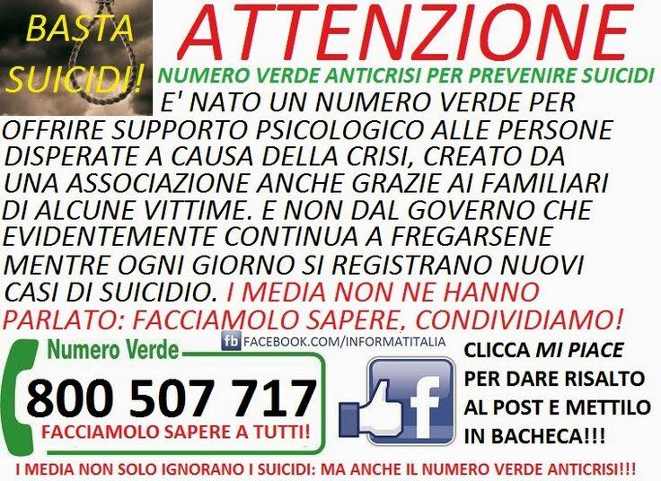 NUMERO VERDE ANTICRISI PREVENZIONE SUICIDI: FACCIAMOLO CONOSCERE! - nocensura.com
