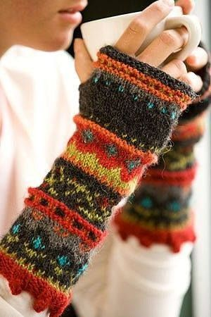 half mitten, sleeve, made from old sweaters.