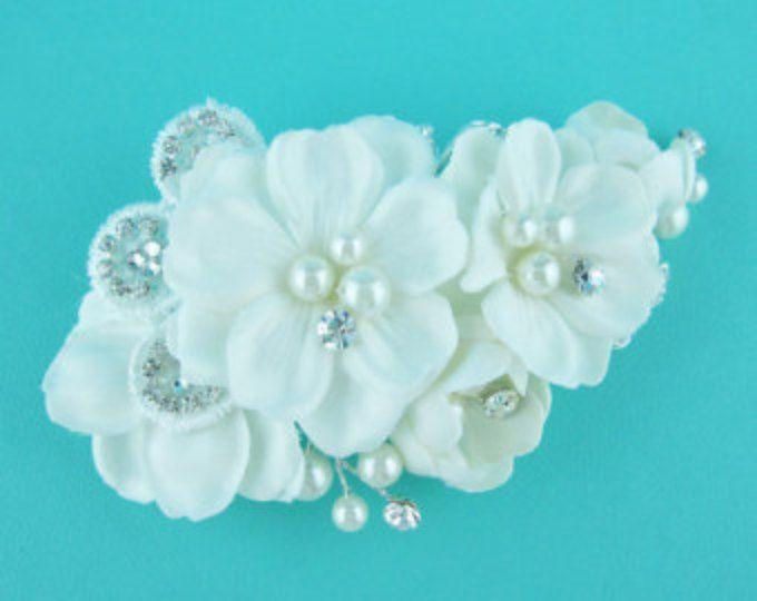 Pearl boda peine, peine del Rhinestone, perla, Flor nupcial peine boda cristal peine del pelo, peine del pelo, accesorio de la boda, casco 231610373