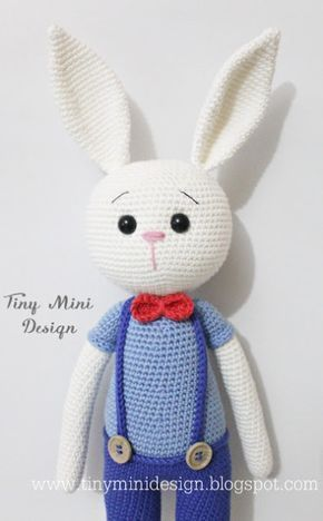 Tiny Mini Design-Amigurumi Bunny Free Crochet Pattern (English, Turkish), #haken, gratis patroon (Engels, Turks), konijn met broek, knuffel, speelgoed, Pasen, #haakpatroon