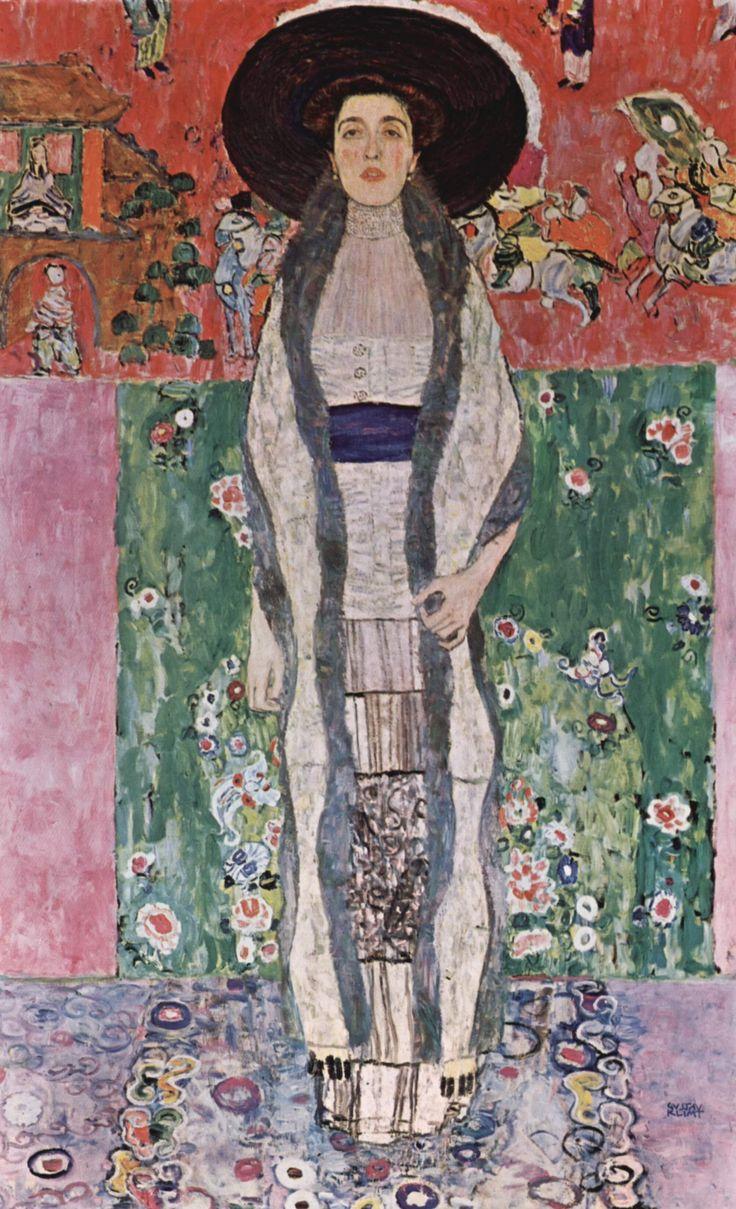 Portrait d'Adèle Bloch-Bauer, Gustav Klimt#Gustav Klimt (1862-1918) est le chef de file de la Sécession de Vienne, qui répandit l'Art nouveau dans l'Empire austro-hongrois dans les années 1900. Gustav Klimt imposa la séduction de la ligne en peinture et s'illustra dans des fresques murales et dans des portraits auxquels il conféra une haute portée symbolique#http://urlz.fr/3iVX#pinterest#44,1,24