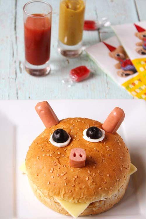 Hamburguesa cerdito, especial para niños