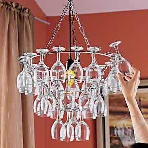 Wine Glass Chandelier--a clever place to store all those glasses  #WineEnthusiast