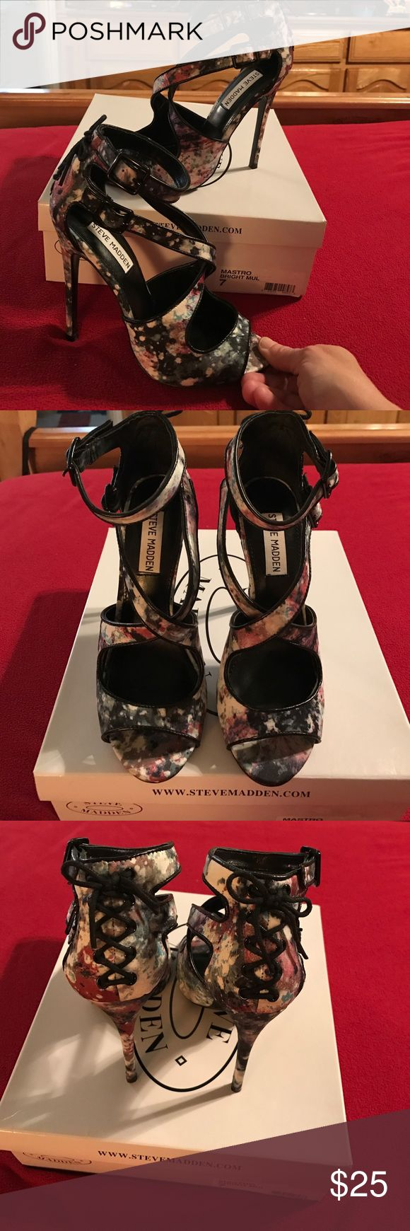 Like new Steve Madden floral strappy heels 7M Like new Steve Madden floral strappy heels 7M. Beautiful muted pinks, blues, grays on a black background. Worn one time. Steve Madden Shoes Heels