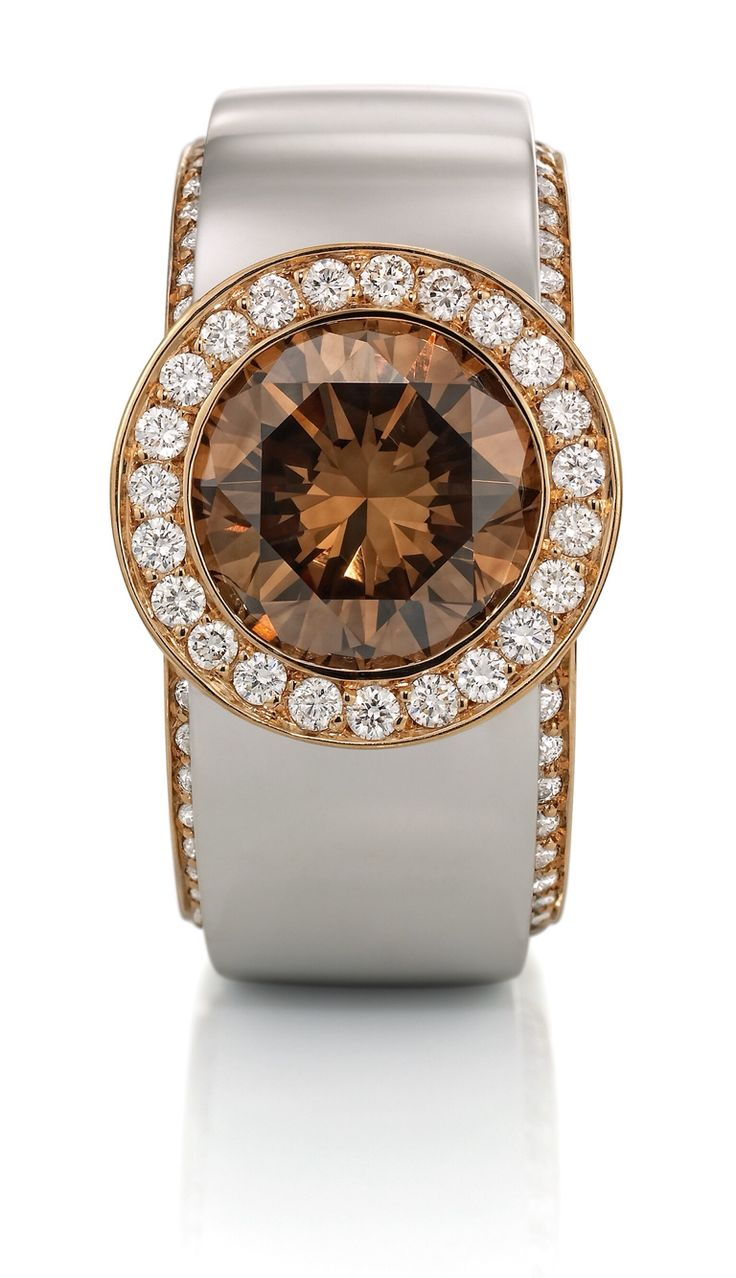 Rosendorff 'Colours Of The Earth Collection' Brilliant Cognac and White Diamond Ring
