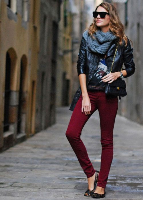 scarf + skinnies + leather jacket