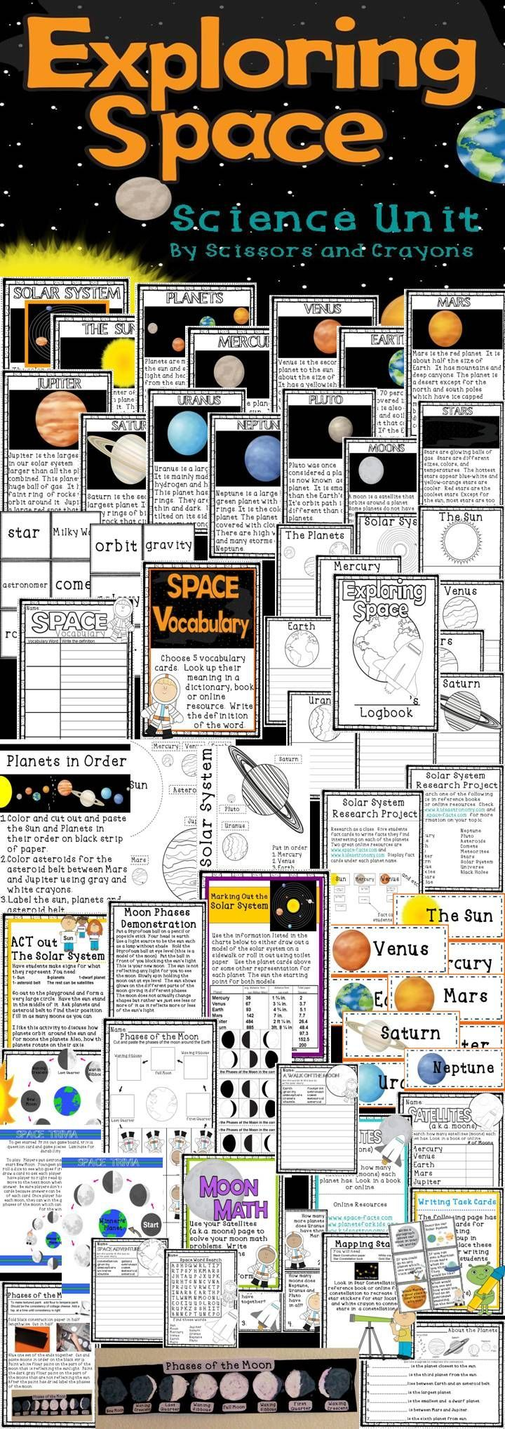 Space Science Unit 1st grade 2nd grade 3rd grade :Exploring Space This is a complete unit covering solar system, sun, planets, asteroids, meteoroids, comets, stars, moons, and moon phases. This pack includes activities, lessons, demonstrations, printables, centers and more!! #space