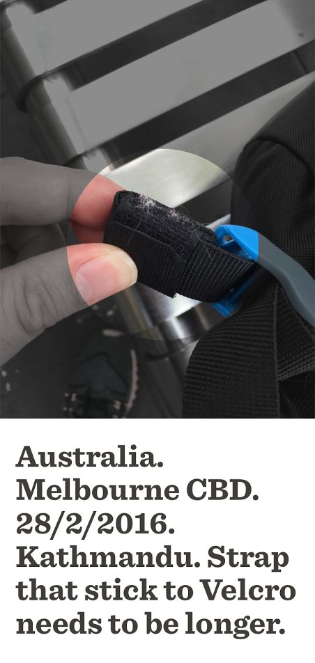 Longer Backpack Strap to ensure VELCRO is fully covered needed to eliminate accumulation of hairs-  Longer Backpack Strap to ensure VELCRO is fully covered needed to eliminate accumulation of hairs-dirt on VELCRO = Customer dissatisfaction = word of mouth = loss of Sales-profits=significant reduction of ur Salary-profits- ur job loss  Backpack Ideas Melbourne Retail Velcro