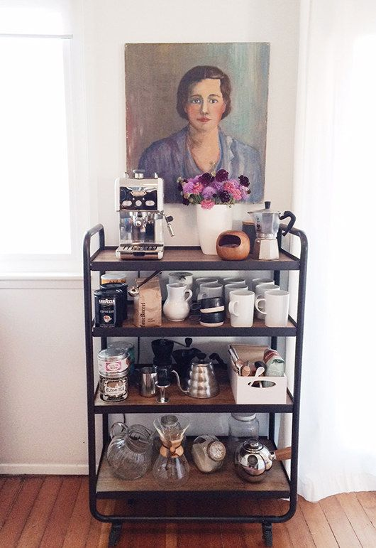 Use it in the kitchen or dining room as a coffee cart. | 25 Awesomely Creative Ways To Use A Bar Cart
