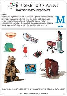 Logopedický list - M - děti