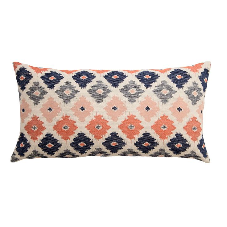Coral, gray and navy pillow from Crane & Canopy.