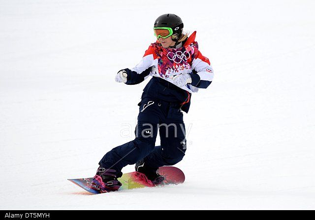 Sochi, Russia. 9th February 2014. GB's Jenny Jones Womens Snowboard Slopestyle final © Sport In Pictures/Alamy Live News