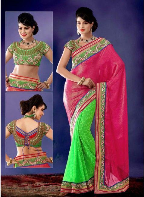 Appealing fuchsia & Lime green embroidered #saree #designersares #clothing #fashion #womenwear #womenapparel #ethnicwear