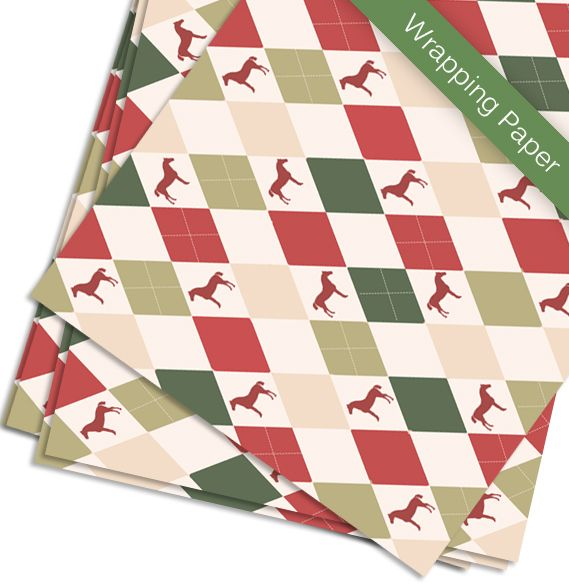 EQUESTRIAN GIFT WRAP -  Harlequin Horse Christmas Gift Wrapping Paper - The Painting Pony