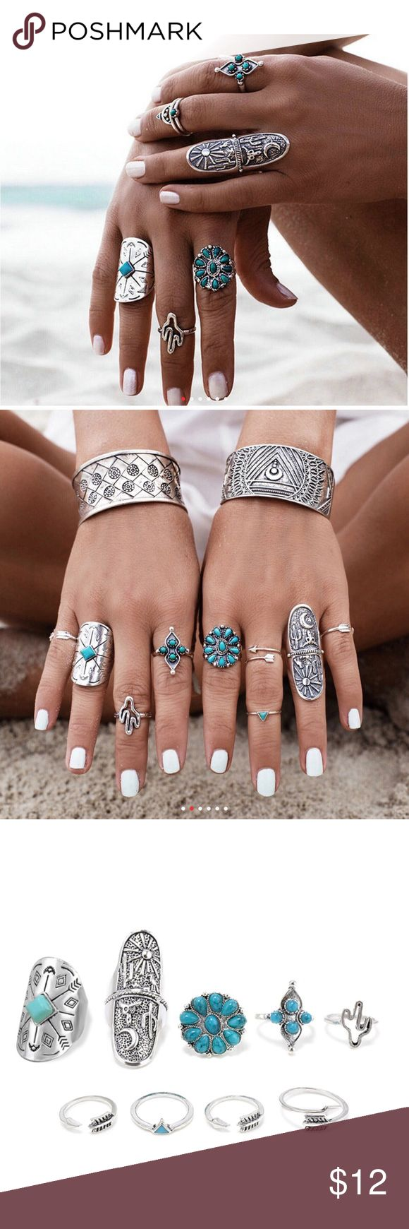 💎4 LEFT💎 9 Pc Bohemian Silver Turquoise Ring Set 🔻4 SETS LEFT🔻 9 PCS  BRAND NEW  All items arrive adorably gift wrapped. 🎁  Simply bundle your items & save 💲💲💲  WHILE SUPPLIES LAST  Thanks for your support & enjoy! 💕  TAGS ONLY: NOT: Nasty Gal Victoria's Secret Ulta Sephora MAC H&M Lululemon Francesca's kate spade J. Crew Kardashian Free People Juicy Stella & Dot Tory Burch Smashbox Anthropology Urban Outfitters follow game Kylie contour matte baked palette classy trending cheap…