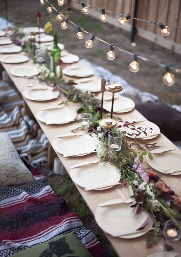 {Lights and long table.}