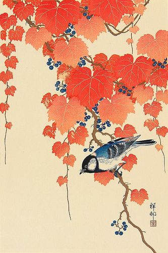Bird with red ivy by t. van gieson, via Flickr   http://atouchofvaudeville.typepad.com/a_touch_of_vaudeville/koson-ohara/