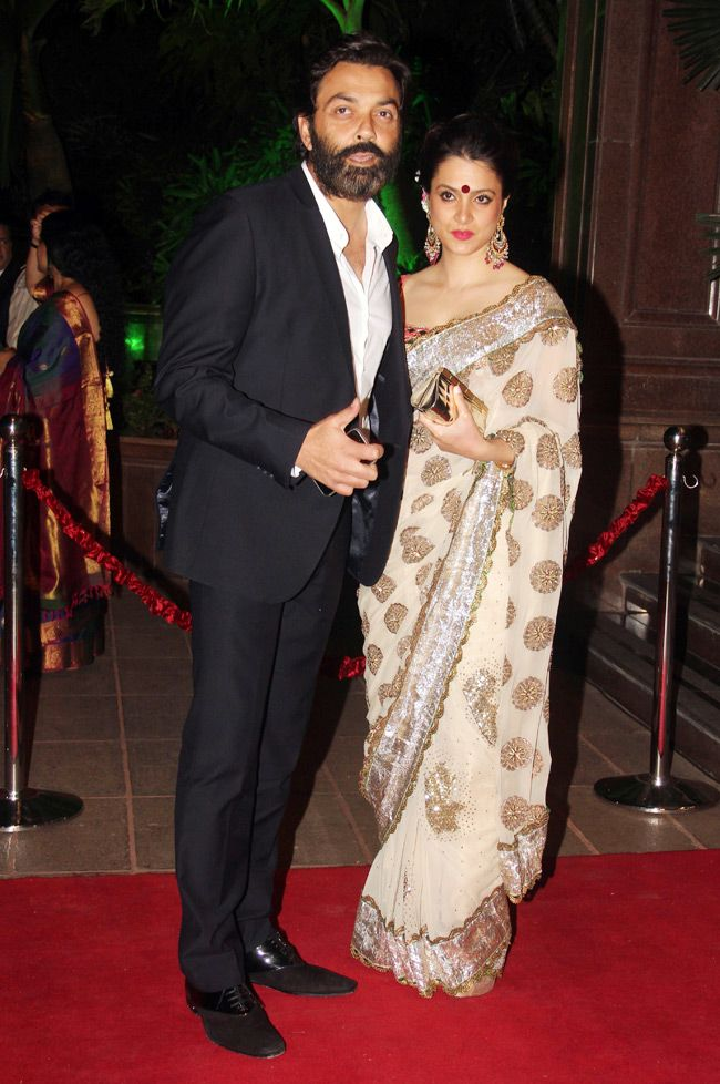 Bobby Deol with wife Tanya at Arpita Khan's wedding reception in Mumbai. #Bollywood #Fashion #Style #Beauty