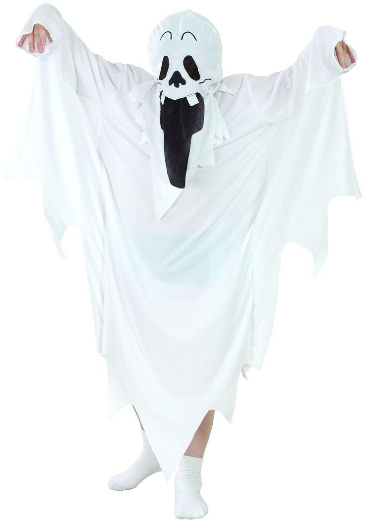 Déguisement fantôme Halloween enfant : Ce déguisement de fantôme Halloween pour enfant se compose d'une robe blanche dentelée et d'une cagoule sur laquelle est cousu un visage de fantôme (Chaussettes non...