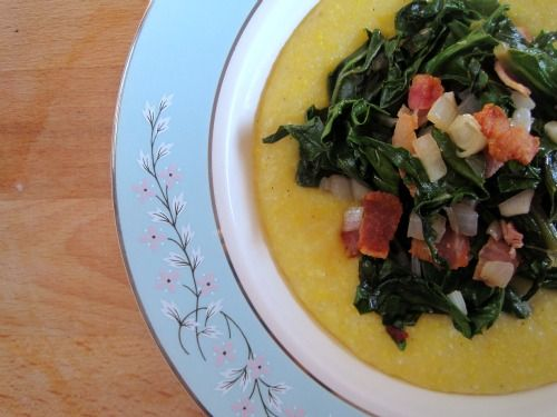 KALE & GREEN GARLIC WITH CHEESY POLENTA: Green Garlic, Side Dishes, Cheesy Polenta, Polenta Lindsay, Other, Main Dishes, Favorite Recipes, Dishes Plats, Dinners Served