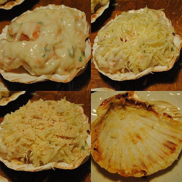Coquilles de saumon et crevettes à la béchamelLa main à la pâte
