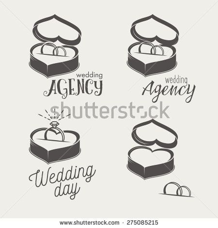 Set of logos for bridal salon, agency. Two wedding rings in a box crossed in the form of heart. http://www.shutterstock.com/pic-275085209/stock-vector--set-of-logos-for-bridal-salon-agency-two-wedding-crossed-rings-on-a-pillow-in-a-box-and-with.html?src=uIoWRQhlFCQnBgd6x4YVpw-1-5
