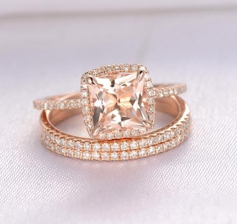 Princess Morganite Engagement Ring Pave Diamond Wedding 3 Rings Sets 14K Rose Gold 7mm,Cushion Halo
