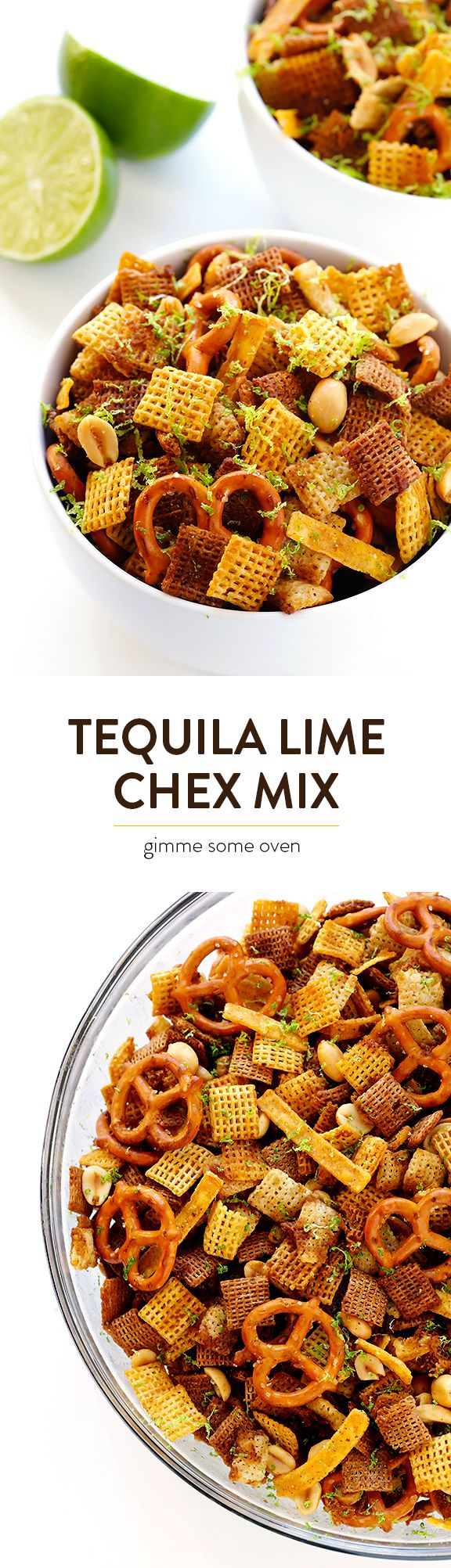 Tequila Lime Chex Mix -- a delicious party mix kicked up a notch with some fresh lime and tequila! | gimmesomeoven.com