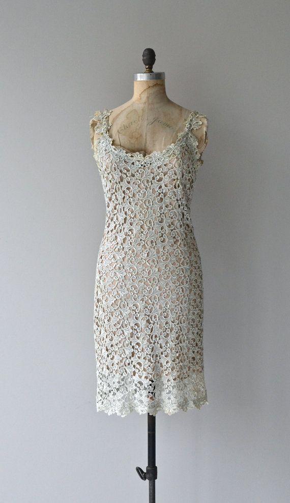 Sophos lace dress 80s lace applique dress vintage by DearGolden