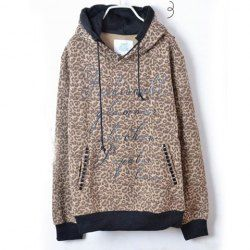 Stylish Leopard Pattern Stud Embellished Long Sleeve Cotton Hoodie For Men (AS THE PICTURE,L) China Wholesale - Sammydress.com