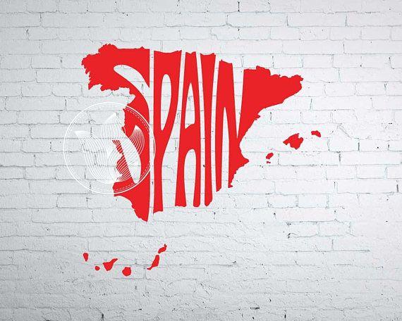 Digital Spain Word Art Spain jpg png eps svg dxf Spain