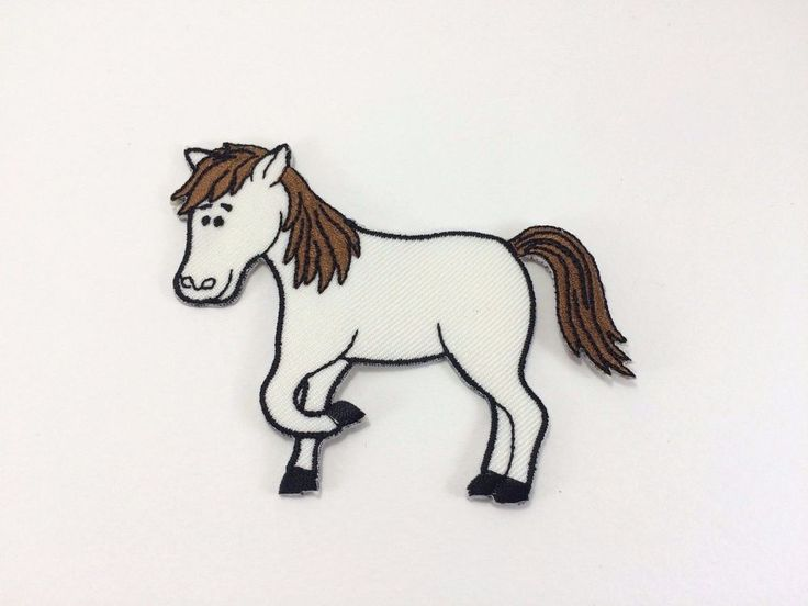 Iron On Embroidered Applique Patch White Horse Running Pony Kids Full Body #handmade