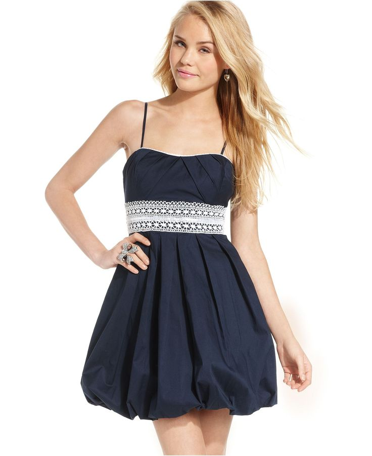 Speechless Juniors Dress, Spaghetti-Strap Striped Bubble ...