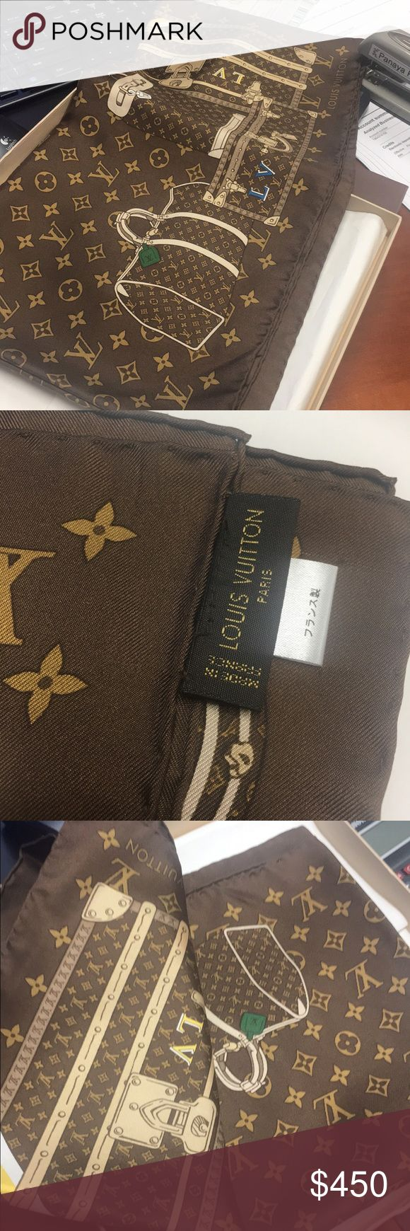 Authentic LV scarf monogram Trunks Square Great Used condition. Come with box Louis Vuitton Accessories Scarves & Wraps