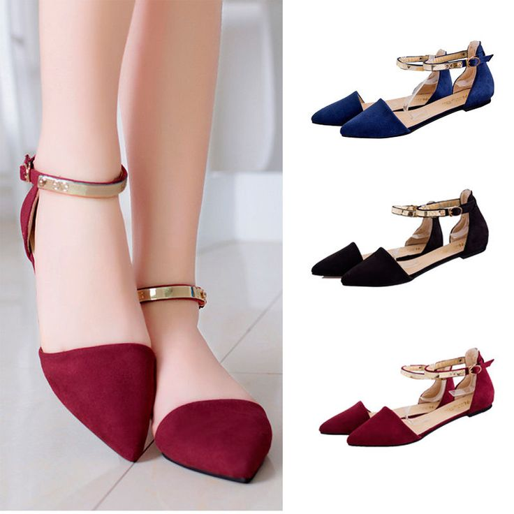 Womens Sandles Ankle Strap Flat Heel Sandles Pointed Toe Casual Shoes US 7-8.5 | Clothing, Shoes & Accessories, Women's Shoes, Sandals & Flip Flops | eBay!