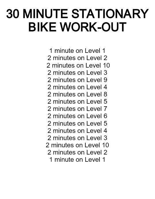 30 minute stationary bike workout... (TOTAL MILEAGE = 6.15 mi)