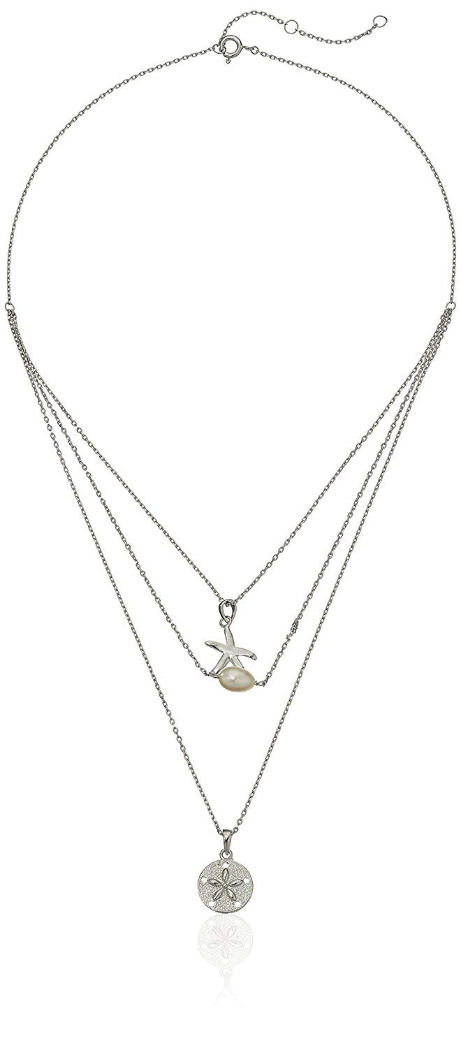 Rhodium Plated Sterling Silver White Freshwater Cultured Pearl Sand Dollar and Starfish Layered Necklace, 16' 2' Extender -- To view further for this item, visit the image link. (This is an affiliate link and I receive a commission for the sales)