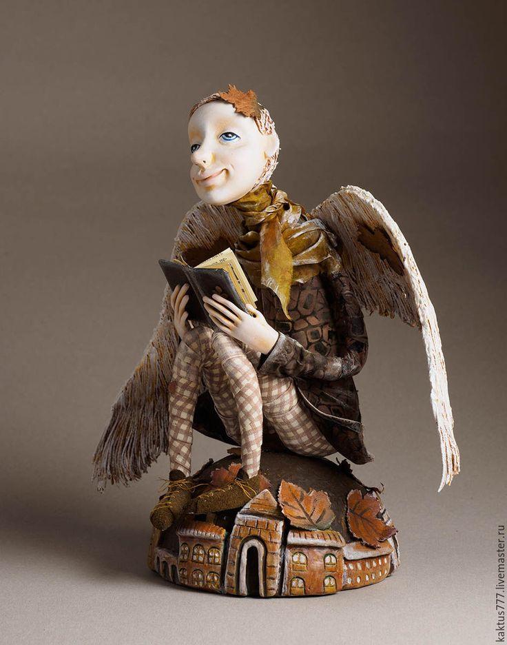 Art doll   Купить Мечтатель - ангел, осень, подарок, авторская работа, fimo, медная проволока, натуральный хлопок