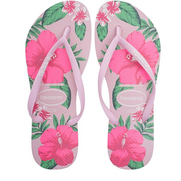 HAVAIANAS Slim Floral Pink // Flip flops with print ($33) ❤ liked on Polyvore featuring shoes, sandals, flip flops, summer shoes, pink flip flops, flower print shoes, rubber thong sandals and summer sandals