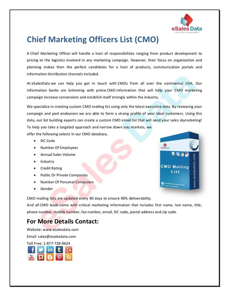 Chief Marketing Officers List By Kim Smith Via Slideshare