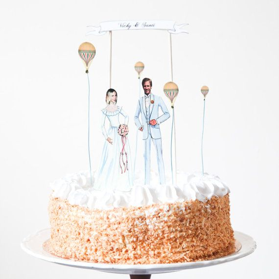 Wedding Cake Topper Custom Made Vintage Inspired Bride and Groom with Hot Air Balloons