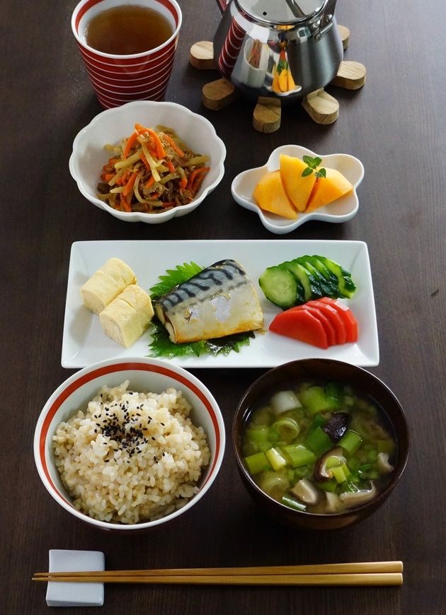 Typical Japanese Breakfast (Grilled Saba Mackerel, Egg Roll, Oshinko Japanese Pickles, Brown Rice, Mushroom and Green Onion Miso Soup)