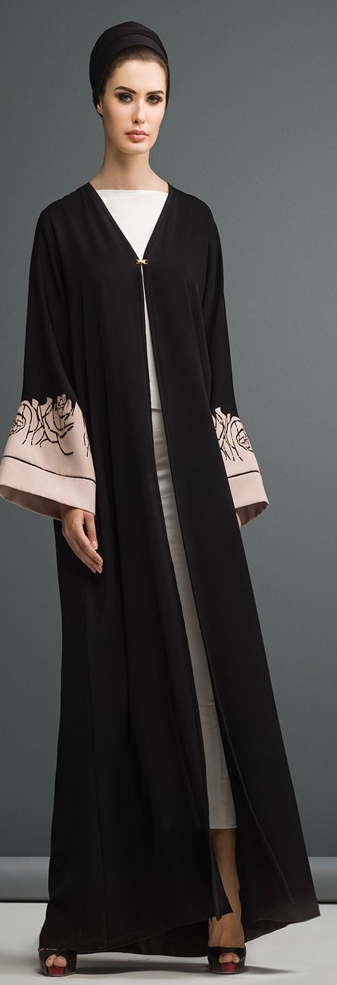 Mauzan abaya Dubai..Work : Big Rose Lasercut Design Fabric : Black + Colored Crepe