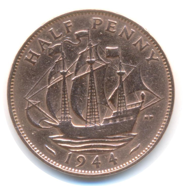 George VI Half Penny 1944 (Polished) Vintage Coin (Code: JMC1751) by COINSnCARDS on Etsy
