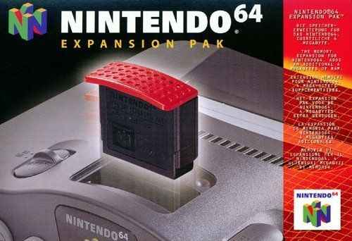 Nintendo 64 Expansion Pak  Cartridge is inserted into Nintendo 64 console; doubles original 4MB of memory, for a total of 8MB  Allows games to have larger worlds, longer animation sequences, and much more complex gameplay.  Increases screen resolution from 320 X 240 pixels up to 640 X 480 pixels  Required for games like Donkey Kong 64