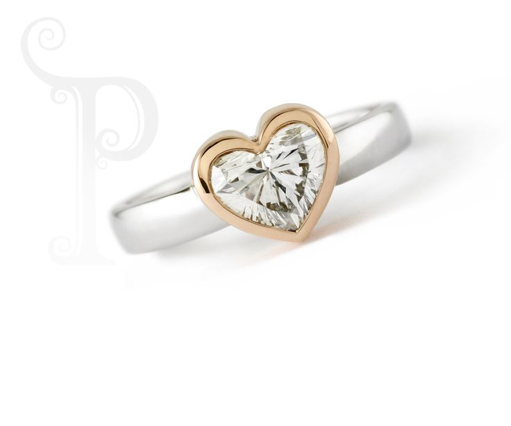 Handmade 18ct White Gold & Yellow Gold Solitaire Engagement Ring, Bezel Set With a Heart Shaped Diamond