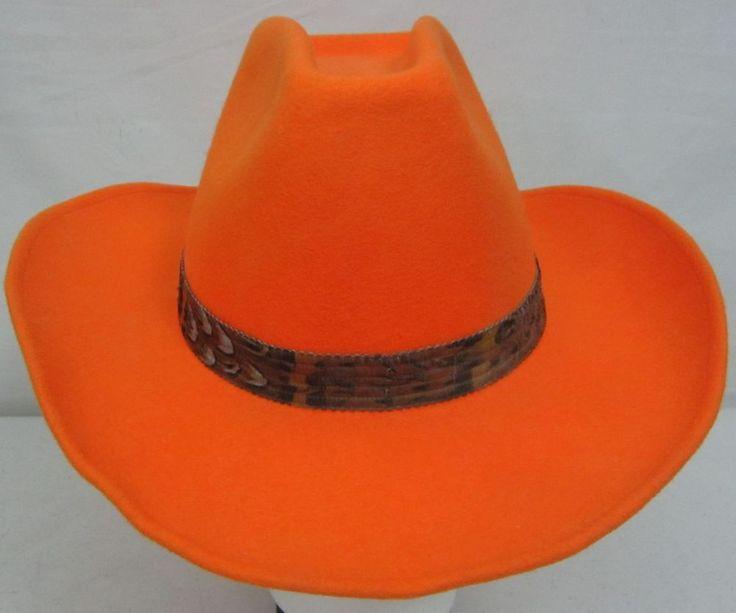 Rockmount Denver Broncos Orange Wool Cowboy Hat High ...