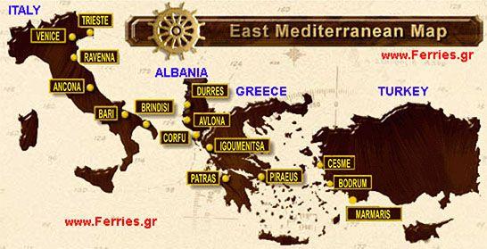 Ferry tickets online. Greek Ferries schedules from to Italy Greece Greekislands Albania Turkey & Mediterranean ports.